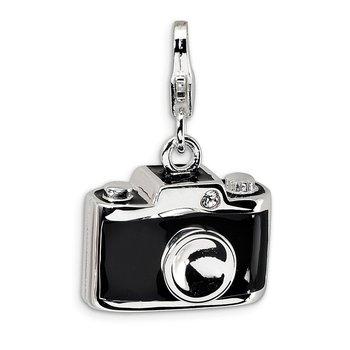 Sterling Silver Enamel Swarovski Element Camera w/Lobster Clasp Charm