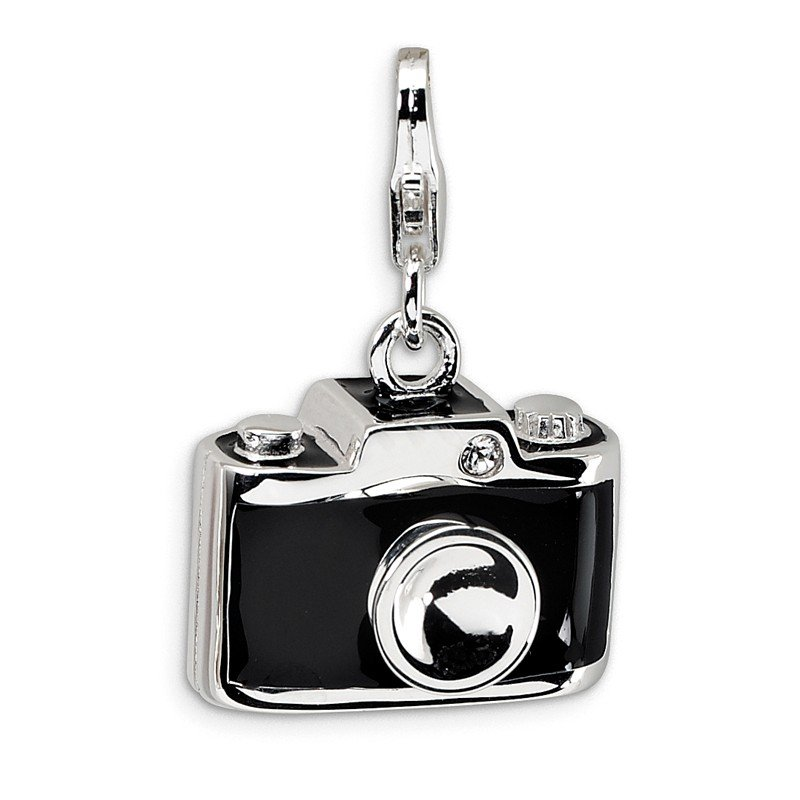 Quality Gold Sterling Silver Enamel Swarovski Element Camera w/Lobster Clasp Charm