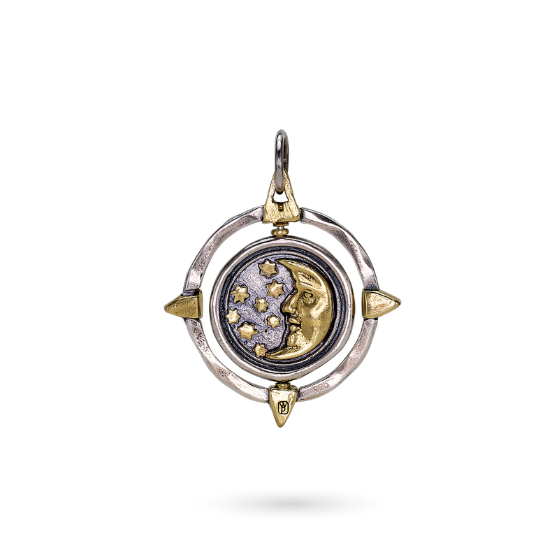 Waxing Poetic Compass Spinner Pendant - Another Wish