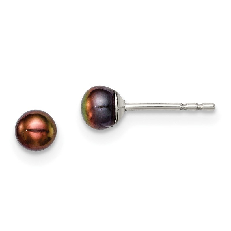 Quality Gold Sterling Silver Rh-plated 3-4mm Black FW Cultured Button Pearl Stud Earring