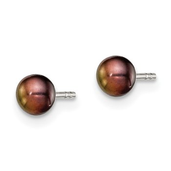 Sterling Silver Rh-plated 3-4mm Black FW Cultured Button Pearl Stud Earring