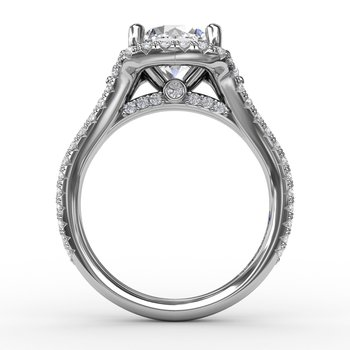 Cushion Halo Engagement Ring With Side Stones and Double-Row Diamond Band