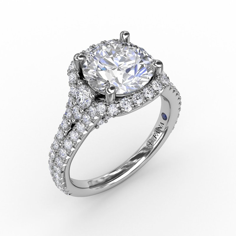 Fana Cushion Halo Engagement Ring With Side Stones and Double-Row Diamond Band