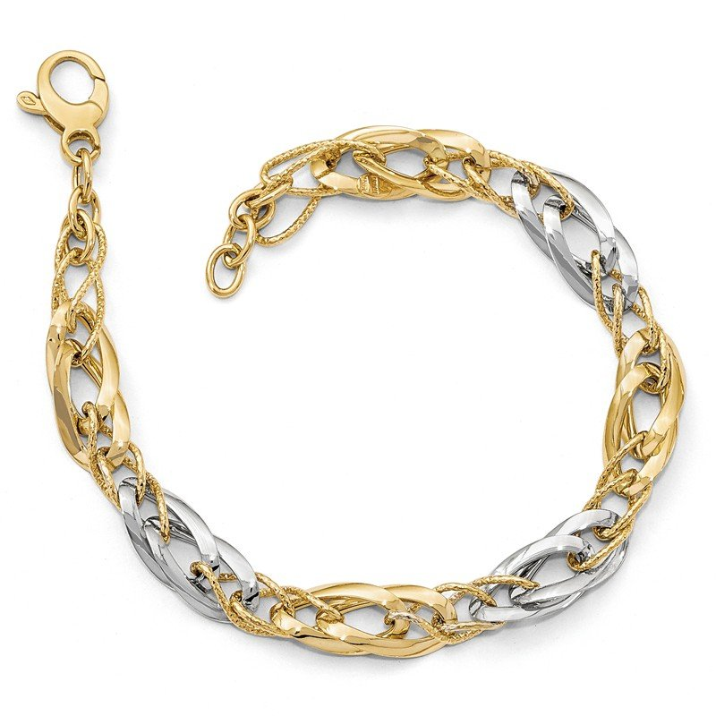 Leslie's Leslie's 14K Two-tone Polished and Textured Fancy Link Necklace