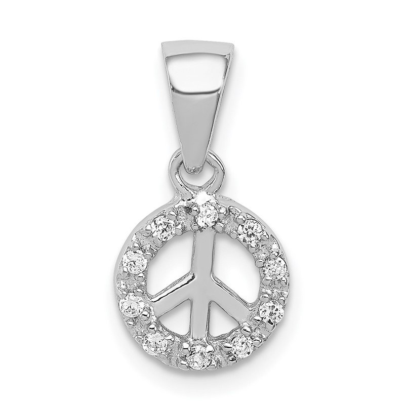 Quality Gold Sterling Silver Small CZ Peace Pendant