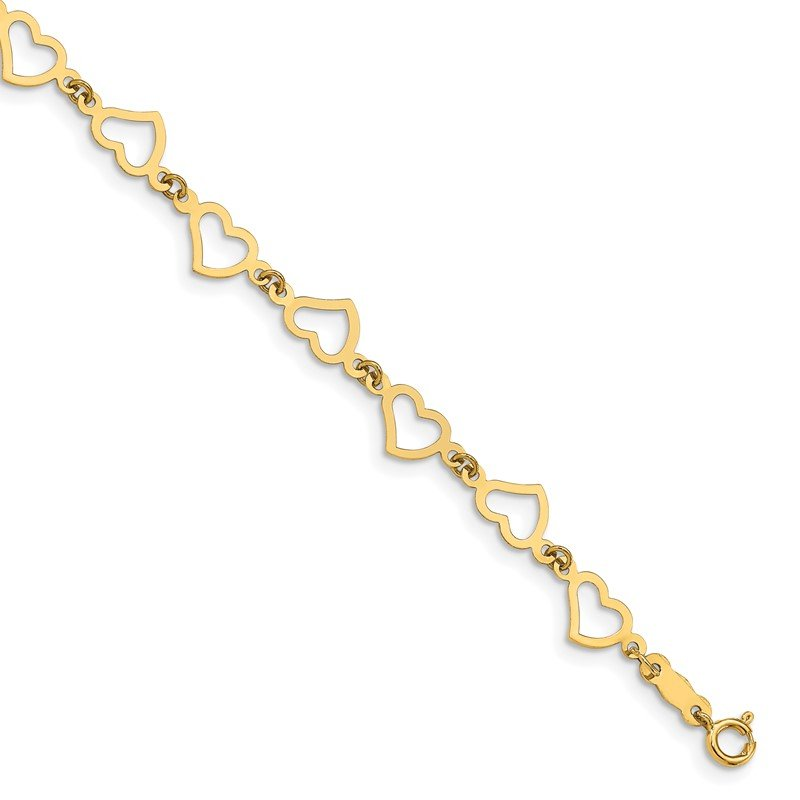 Quality Gold 14K Flat Open Hearts Bracelet