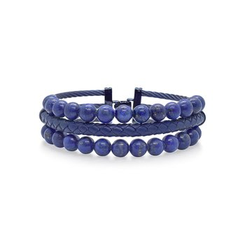Blueberry Cable Bracelet with Blue Leather & Blue Lapis