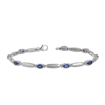 "925 SS Diamond and 7.5"" Oval Shape Created Blue Sapphire Bracelet in Vertical Fold Linked Design with Lobster Clasp"