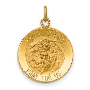 14k Solid Polished/Satin Small Round St. Michael Medal