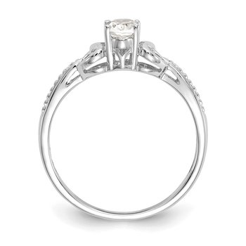 10k White Gold White Topaz and Diamond Ring