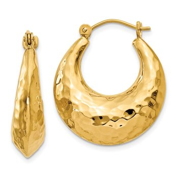 14k Hammered Fancy Hollow Hoop Earrings