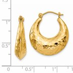 Quality Gold 14k Hammered Fancy Hollow Hoop Earrings