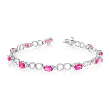 14K White Gold Oval Pink Topaz and Diamond Bracelet