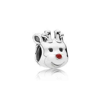 Red-Nosed Reindeer Charm, Red Enamel