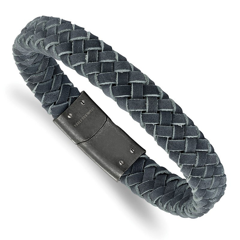 Chisel Stainless Steel Brushed Grey Leather Braided 8.5in Bracelet