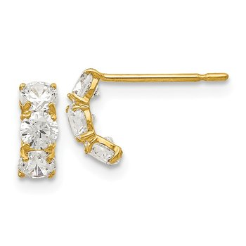 14k Madi K CZ Children's Three Stone Post Earrings