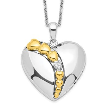 Sterling Silver & Gold-plated CZ I Love You More Each Day 18in Necklace