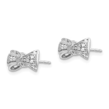 14k White Gold Diamond Bow Post Earrings