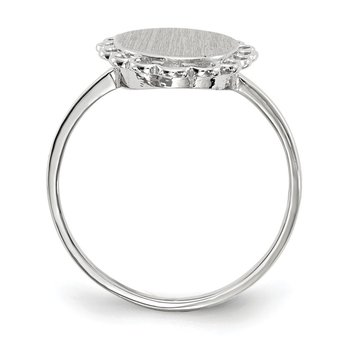 14k White Gold 9.0x8.5mm Open Back Signet Ring