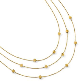 Leslie's 14k Polished Diamond-cut 3-strand with 2in ext. Necklace