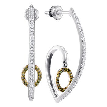 10kt White Gold Womens Round Green Color Enhanced Diamond J Hoop Oval Dangle Earrings 1/4 Cttw