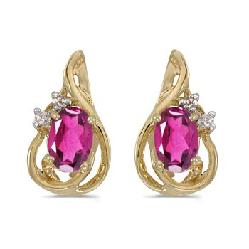 14k Yellow Gold Oval Pink Topaz And Diamond Teardrop Earrings
