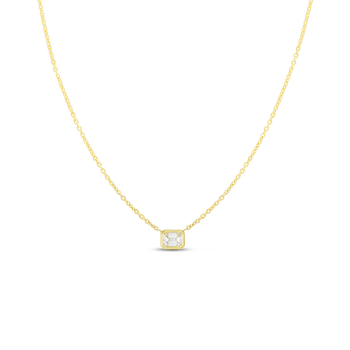 18K EMERALD CUT DIAMOND NECKLACE