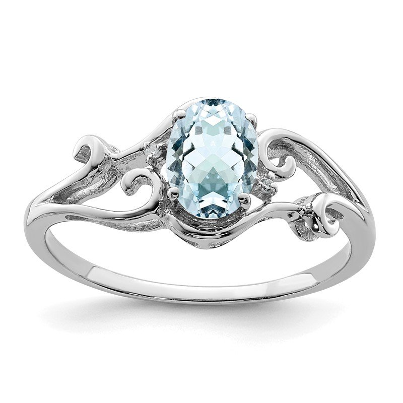 Quality Gold Sterling Silver Rhodium Plated Diamond & Aquamarine Oval Ring
