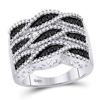 10kt White Gold Womens Round Black Color Enhanced Diamond Segmented Fashion Ring 1.00 Cttw