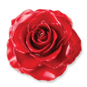 Lacquer Dipped Red Rose Adjustable Silver-tone Ring