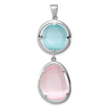 Sterling Silver Rhodium-plated Pink/Blue Created Cats Eye Pendant