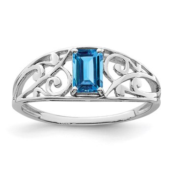 Sterling Silver Rhodium Plated Sky Blue Topaz Ring