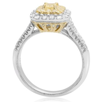 White & Yellow Diamond Split Shank Ring