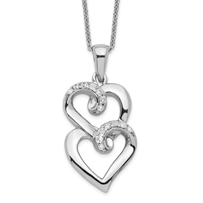 Quality Gold Sterling Silver & CZ To My Sister 18in Heart Necklace