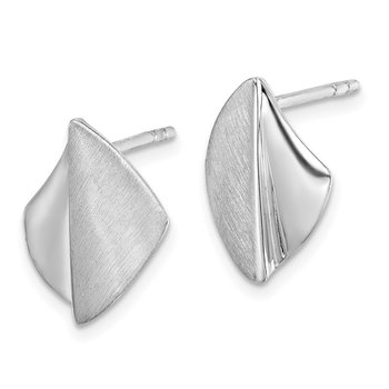 Sterling Silver Rhodium-plated Polished / Brushed Post Earrings