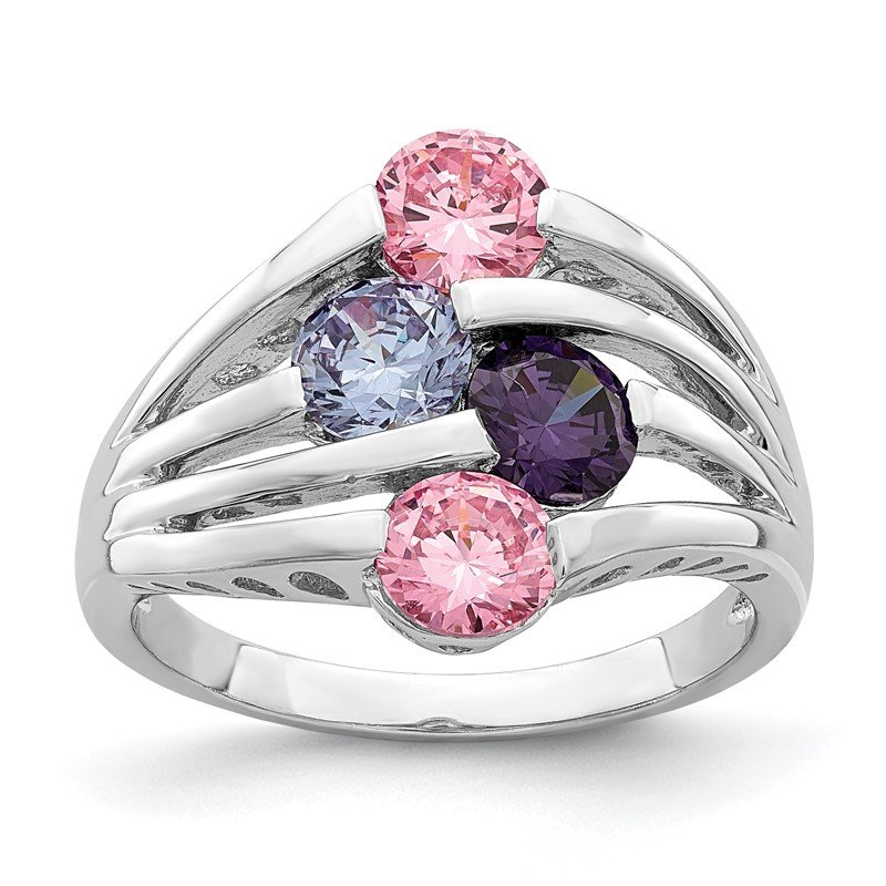 Quality Gold Sterling Silver Rhodium-plated Pink & Purple CZ 4-Bar Ring