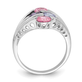 Sterling Silver Rhodium-plated Pink & Purple CZ 4-Bar Ring