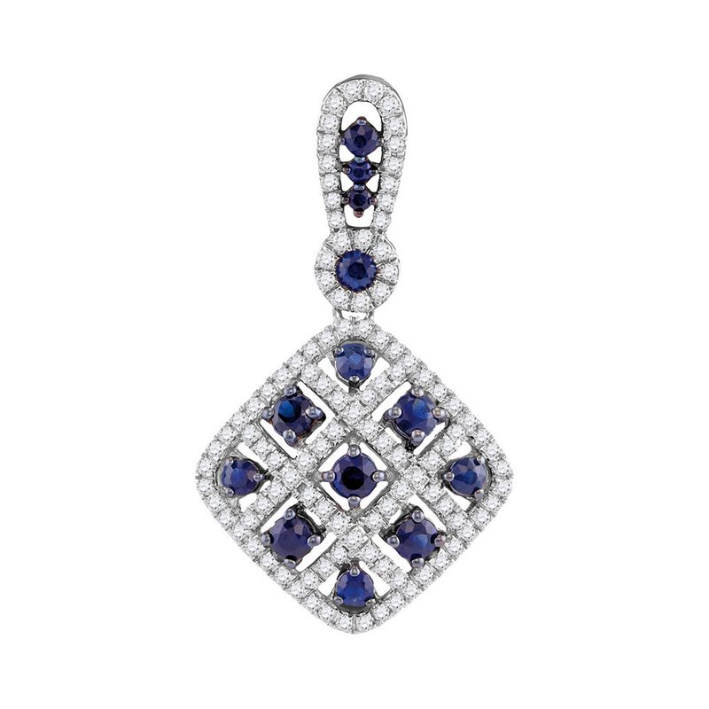 Gold-N-Diamonds 10kt White Gold Womens Round Lab-Created Blue Sapphire Square Pendant 1.00 Cttw