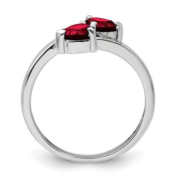 Sterling Silver Rhodium Garnet & Diamond Heart Ring