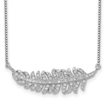 Sterling Silver Rhodium-plated w/CZ Leaf Necklace