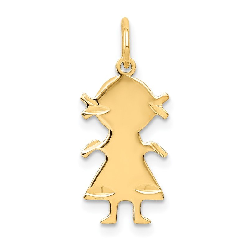 Quality Gold 14k .018 Depth Engravable Girl Charm