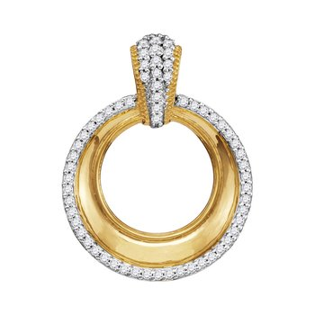10kt Yellow Gold Womens Round Diamond Framed Outline Circle Pendant 1/6 Cttw