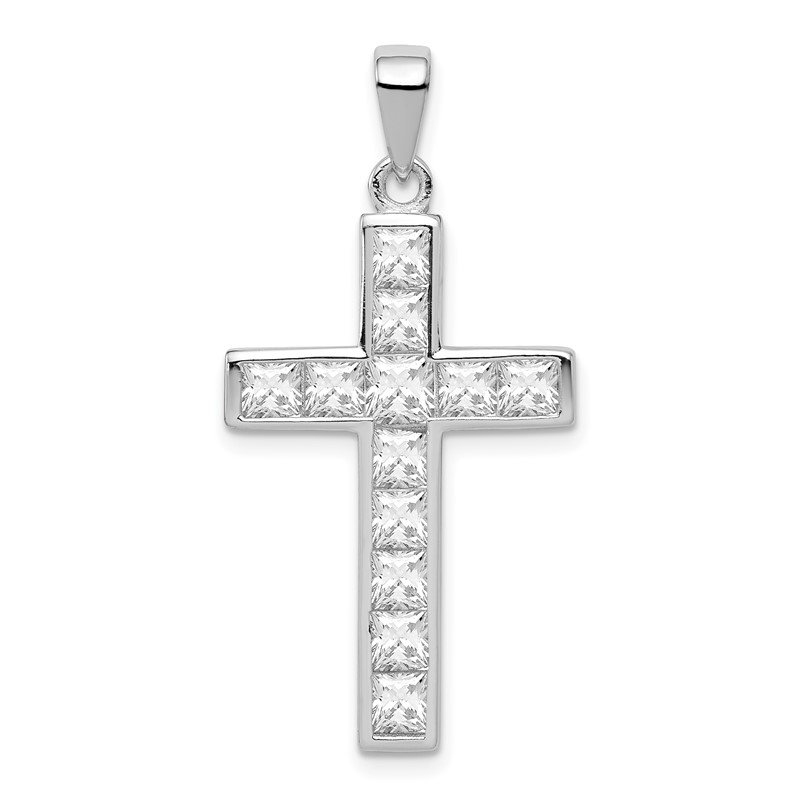 Quality Gold Sterling Silver Rhodium-plated CZ Cross Pendant