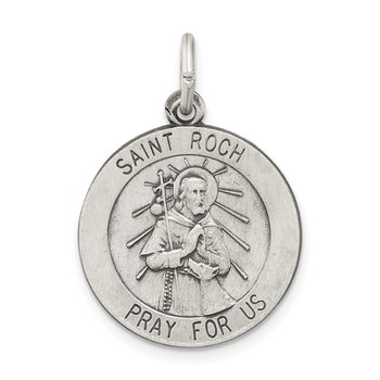 Sterling Silver Antiqued Saint Roch Medal
