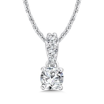 Diamond Solitaire Pendant with Diamond Bale in 14K White Gold (1/4ct. tw.)