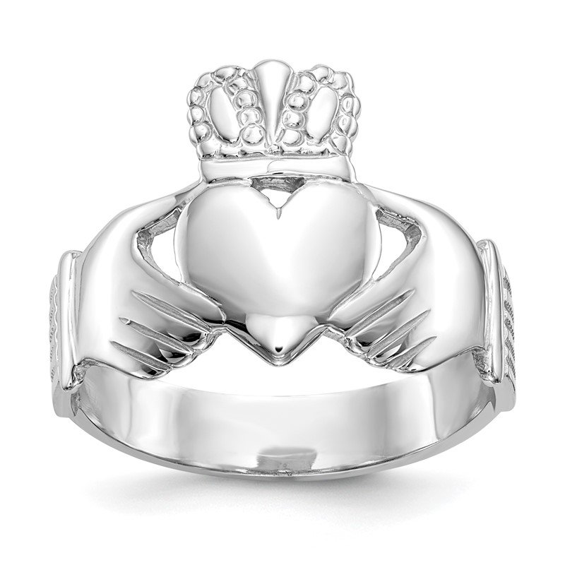 Quality Gold 14k White Gold Men's Claddagh Ring