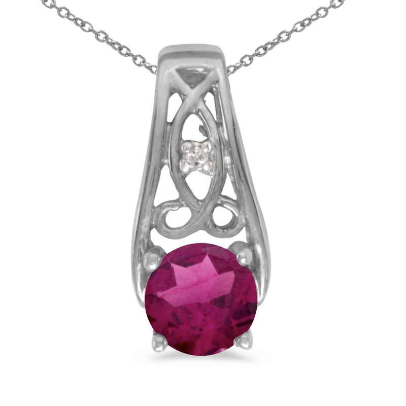 10k White Gold Round Rhodolite Garnet And Diamond Pendant