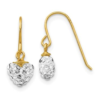 14k Crystal Heart Dangle Earrings