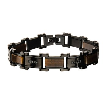 Tiger Eye with Black CZ Black Plated Link Bracelet
