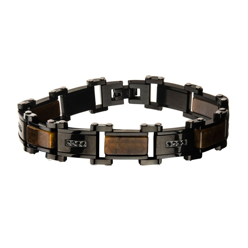 INOX Men's Jewelry Tiger Eye with Black CZ Black Plated Link Bracelet